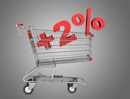 shopping cart with plus 2 percent sign isolated on gray background photo