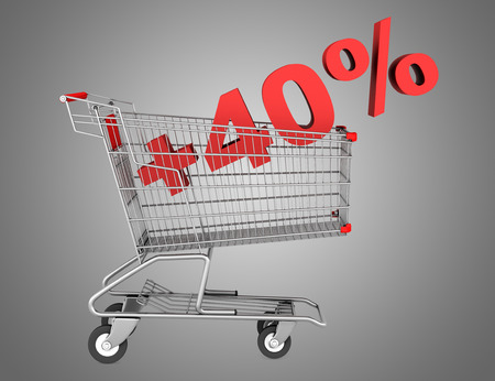 shopping cart with plus 40 percent sign isolated on gray background photo