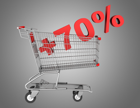 shopping cart with plus 70 percent sign isolated on gray background photo