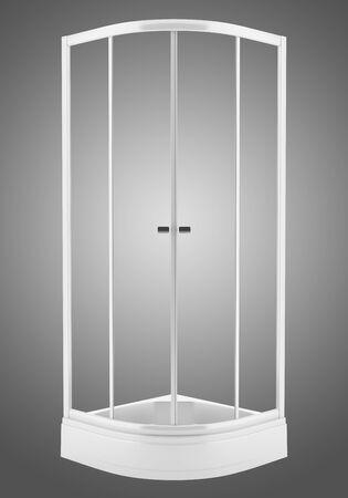 duschkabine: Duschkabine auf grauem Hintergrund isoliert