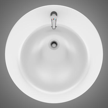 Stock Photo   top view of ceramic bathroom sink isolated on gray background. Top View Of Ceramic Bathroom Sink Isolated On Gray Background