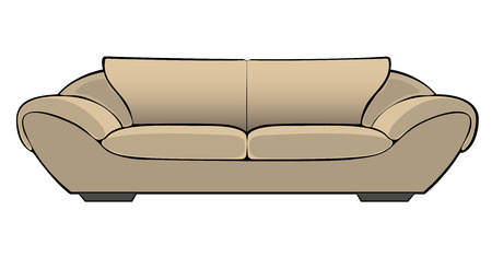 vector cartoon beige couch isolated on white background Vector