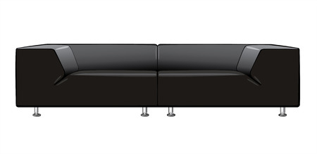 divan: vector cartoon black couch isolated on white background Illustration