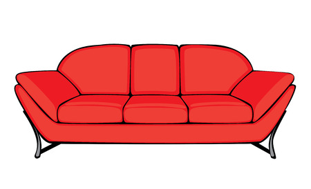 divan: vector cartoon red couch isolated on white background Illustration