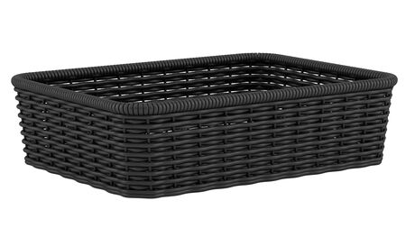 willow fruit basket: empty black bread basket isolated on white background Stock Photo