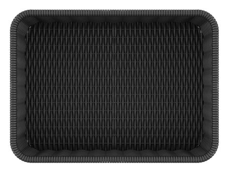top view of empty black bread basket isolated on white background photo