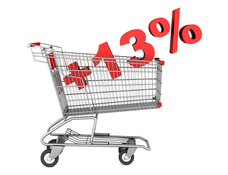 shopping cart with plus 13 percent sign isolated on white background photo