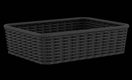 empty black bread basket isolated on black background photo
