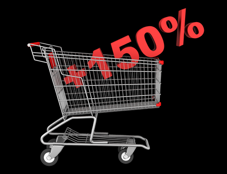 shopping cart with plus 150 percent sign isolated on black background photo