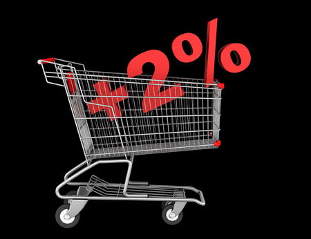 shopping cart with plus 2 percent sign isolated on black background photo