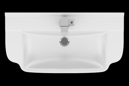 Top View Of Ceramic Bathroom Sink Isolated On Black Background Photo
