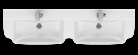 double sink: top view of double ceramic bathroom sink isolated on black background