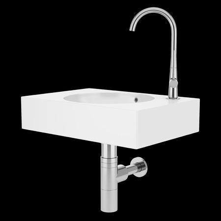 basin: ceramic bathroom sink isolated on black background