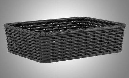 empty black bread basket isolated on gray background photo
