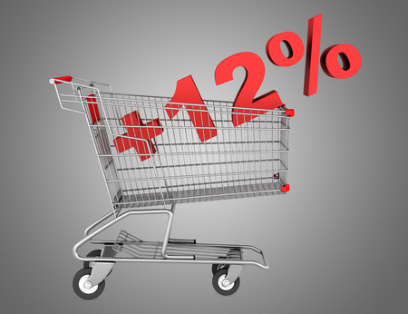 shopping cart with plus 12 percent sign isolated on gray background