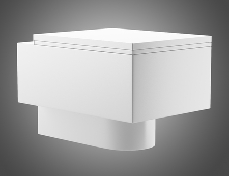 single modern toilet bowl isolated on gray background