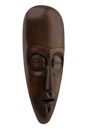 african mask: wooden african mask isolated on white background