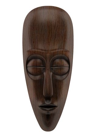 wooden african mask isolated on white background photo