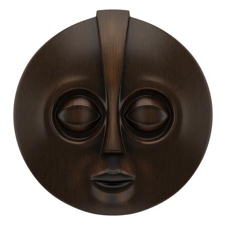 máscara africana de madera aislada en el fondo blanco