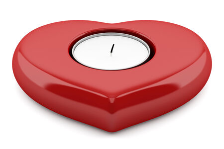 red heart-shaped candlestick with candle isolated on white background photo