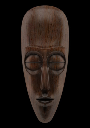 african mask: wooden african mask isolated on black background
