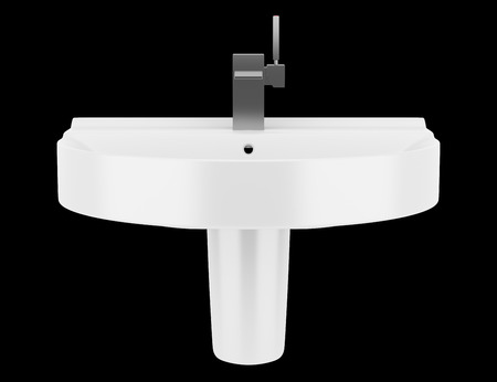 Keramische badkamer wastafel geïsoleerd op zwarte achtergrond