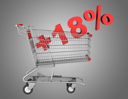 shopping cart with plus 18 percent sign isolated on gray background photo