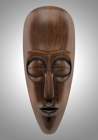 wooden african mask isolated on gray background