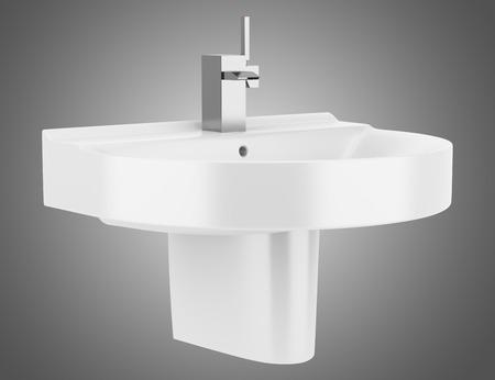 Keramische wastafel badkamer geïsoleerd op een grijze achtergrond
