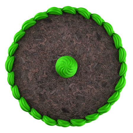 top view of round chocolate cake with green cream isolated on white background photo
