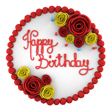 top view of round birthday cake with candles on dish isolated on white background