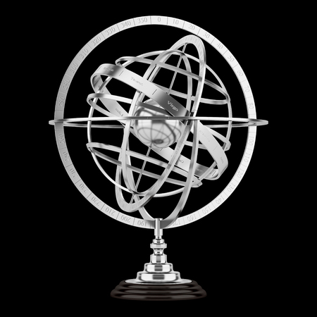 spherical: spherical astrolabe isolated on black background