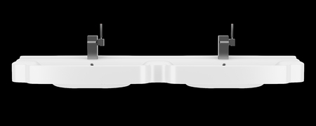 double sink: double ceramic bathroom sink isolated on black background