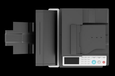 fotocopiadora: vista desde arriba de la moderna impresora multifunción de oficina aislado en el fondo negro