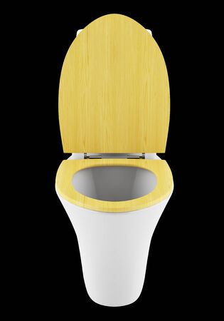 single modern toilet bowl with wooden cover isolated on black background