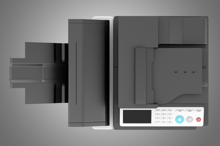 copier: top view of modern office multifunction printer isolated on gray background