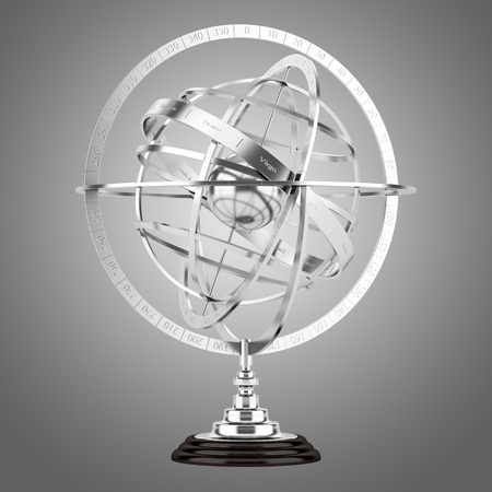 spherical: spherical astrolabe isolated on gray background