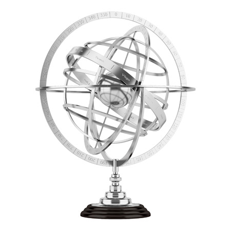 astronomie: sphärische Astrolabium isoliert auf weißem Hintergrund