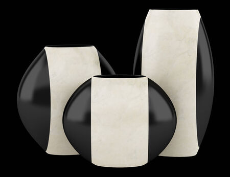 three black and beige ceramic vases isolated on black background photo