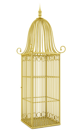 empty golden birdcage isolated on white background photo