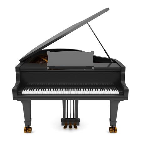 teclado de piano: piano de cola negro aislado en fondo blanco