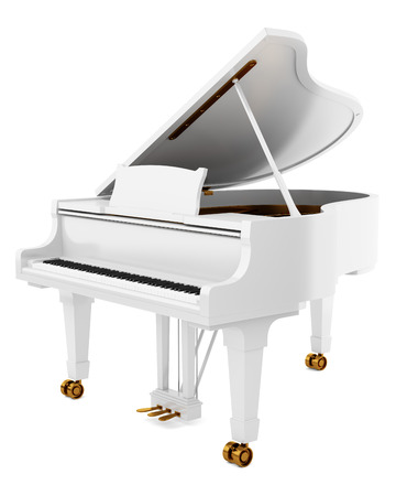 white piano: white grand piano isolated on white background
