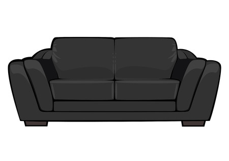 cartoon black couch isolated on white background