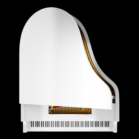 top view of white grand piano isolated on black background Stock Photo - 26894546