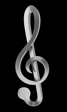 metallic treble clef isolated on black background photo