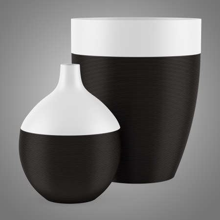 two ceramic vases isolated on gray background photo