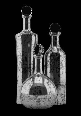 black metallic background: three metallic bottles isolated on black background Stock Photo