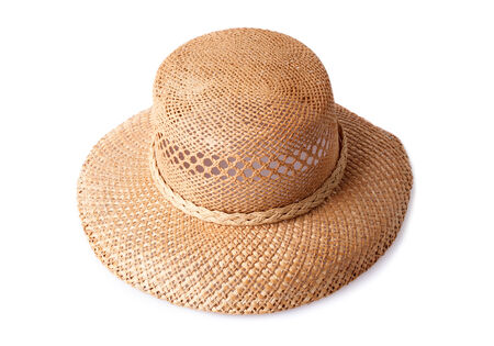 chapeau paille: female summer straw hat isolated on white background Banque d'images