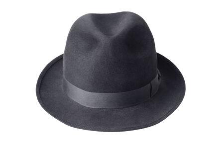b3f6186330161 black male felt hat isolated on white background Stock Photo - 28463803