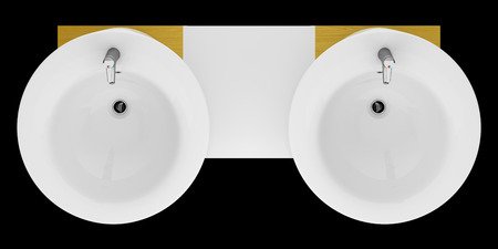 double sink: top view of modern double bathroom sink isolated on black background Stock Photo